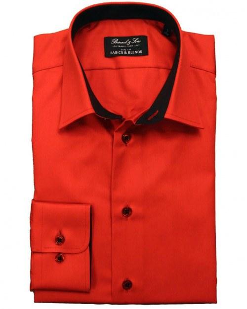 Bosweel herreskjorter. Poplin. Bodycut. Rød.